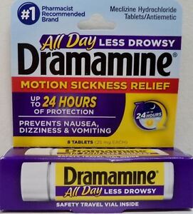 Details about Dramamine Motion Sickness Relief Less Drowsy Formula 8 Tablets