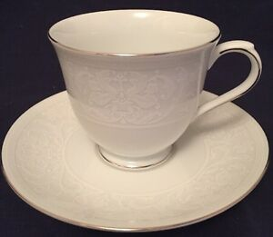 Image is loading Nikko-China-Footed-Cup-&-Saucer-White-Lace- & Nikko China Footed Cup u0026 Saucer White Lace Platinum 2740 Porcelain ...