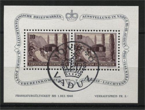 LIECHTENSTEIN, SOUVENIR SHEET MALL COACH 1946, VERY FINE USED