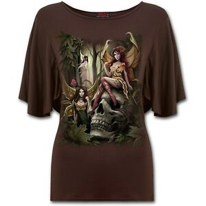Spiral-Direct-Woodland-Fairy-Wings-Fantasy-Forest-Brown-Boat-Neck-Tshirt-Top