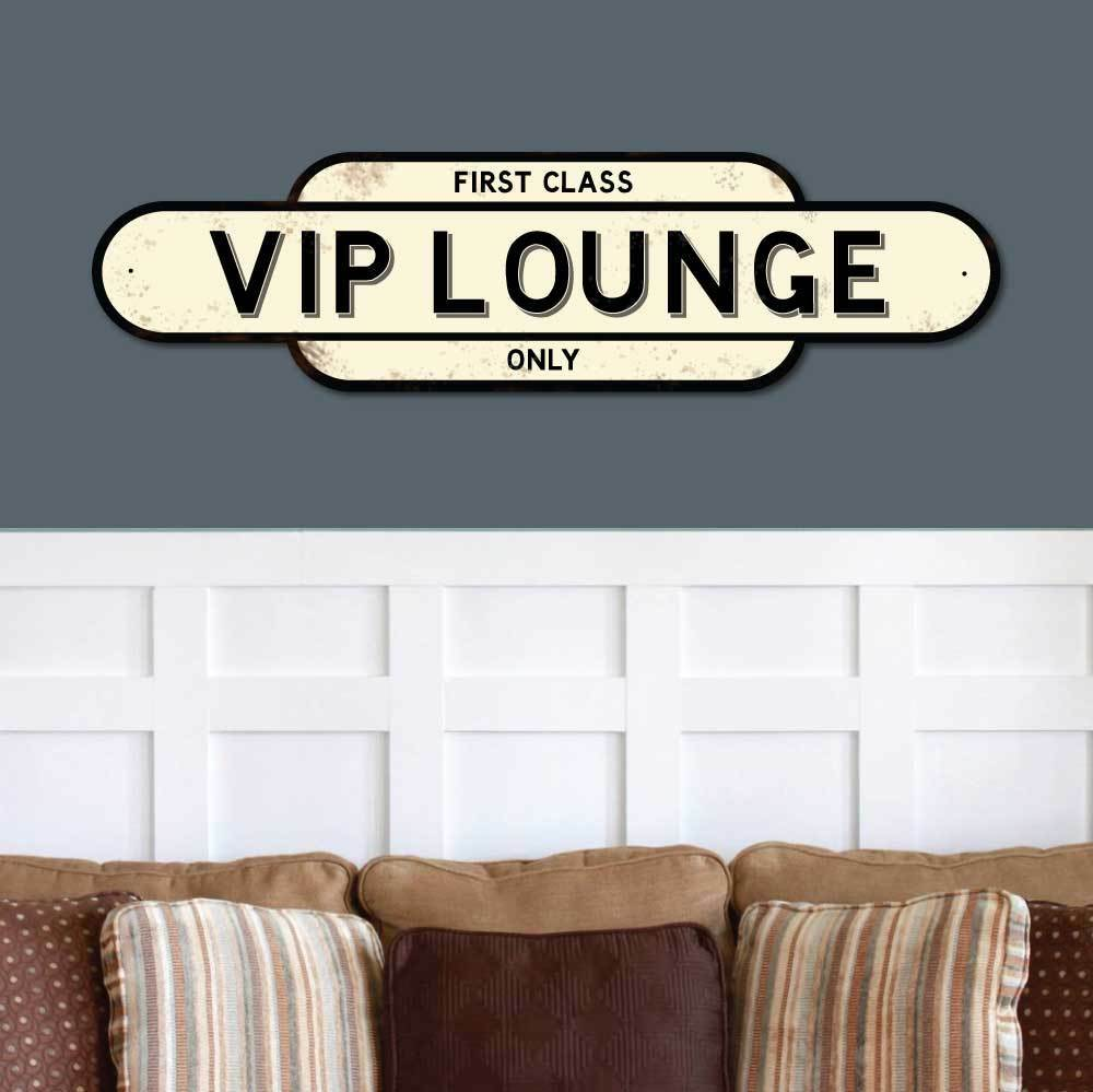 Vintage VIP LOUNGE Sign, 1st Class Only Railway Station Sign, Totem train sign