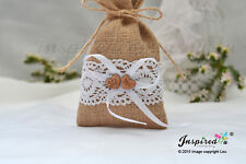 25 x Hessian Favor Bags Cotton Lace Wooden Mr Mrs Heart Wedding Party Sweets