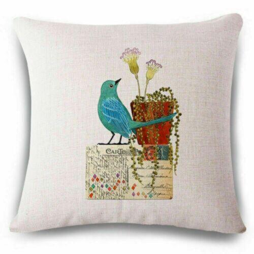 """18/"""" Pillow Case Flowers birds Cotton Linen Throw Cushion Cover Home Sofa Decor"""