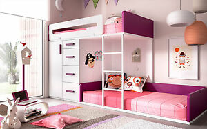 premium design hochbett stockbett kinderzimmer f r jungen m dchen 22 farben. Black Bedroom Furniture Sets. Home Design Ideas