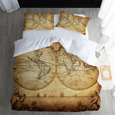 3D Retro World Map Duvet Cover Bedding Set Western Style Quilt Cover Pillow  Case | eBay