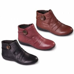 Padders-CARNABY-Ladies-Womens-Leather-Extra-Wide-2E-Zip-Up-Warm-Ankle-Boots
