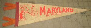 "Vintage MARYLAND The Free State 14"" 4-Tassel White PENNANT - Cartoon Terrapin"