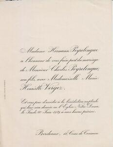 Détails Sur 1929 Faire Part Mariage Charles Peyrelongue Marie Henriette Vergez Bordeaux