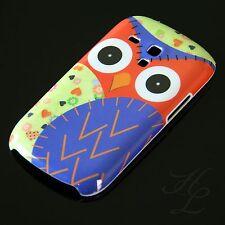 Samsung Galaxy S3 mini i8190 Hard Case Handy Schale Schutz Hülle Eule Blau Owl