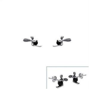 Boucles d/'oreilles ELFE Fée clochette Cristal NOIR en ARGENT NEUF