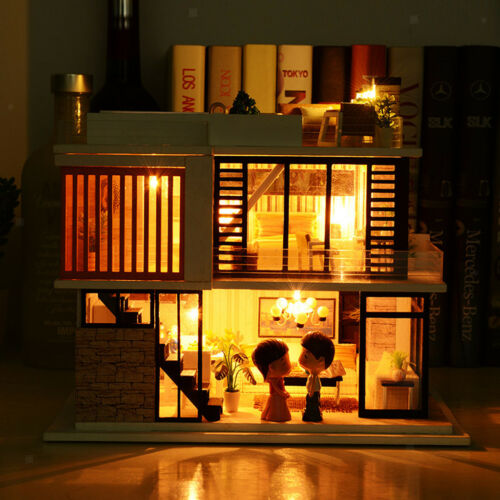 DIY Dolls House Kit Wooden Dollhouse with Furniture LED Lights Florence Town