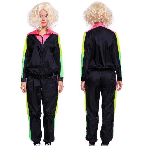 Adulte 80 S Bleu Rose Noir Retro Trackie Fancy Dress Costume Shell Costume Scouser