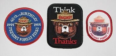 """3 VINTAGE SMOKEY BEAR PATCHES /""""40TH B-DAY,THINK/"""" /& HELP PREVENT FOREST FIRES/"""""""