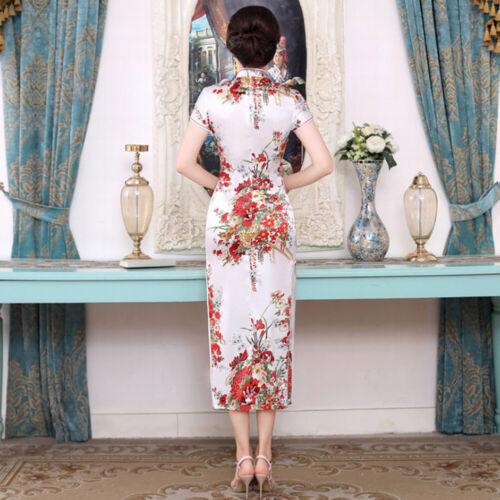 JP/_ Chinese Flower Print Stand Collar Short Sleeve Women Slit Cheongsam Dress