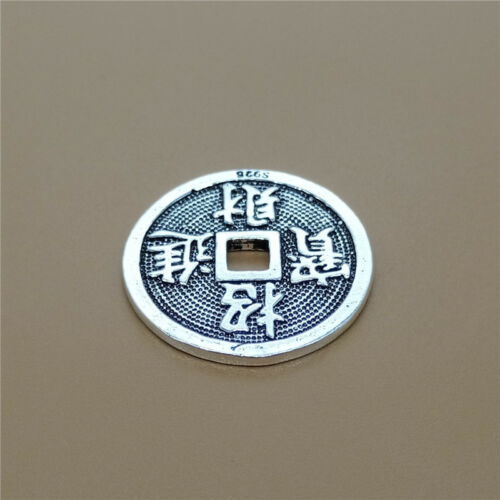 Argent Sterling 925 chinois fortune Lucky Coin Bead Feng Shui coin