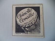 advertising Pubblicità 1950 CHINOTTO CORALLO - SOCIETA' MONTEVERDE