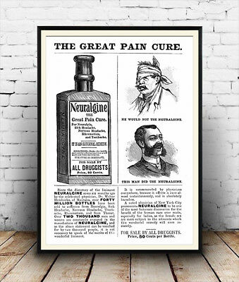 poster Neuralgine : Vintage newspaper advert poster reproduction. Wall art