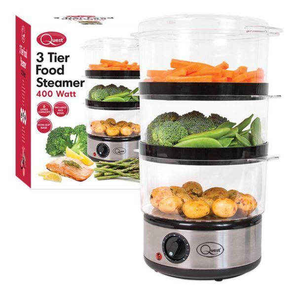 Nouveau Food Quest 3 Couche en Acier Inoxydable Compact Food Nouveau Steamer avec bol de riz, 6 L e328d3