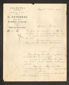 SEIGY-pres-SAINT-AIGNAN-41-SABOTS-SABOTIER-amp-CAFETIER-034-A-FAVEREAU-034-en-1918