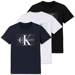 Calvin Klein T Shirt Ck Jeans Monogram Box Logo Tee Black White Navy Ebay