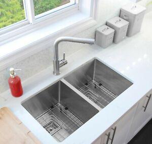 "30""L x 18""W Stainless Steel Double Basin Undermount Kitchen Sink"