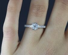 $6,500 EGL 18k White Gold 1.11ct Forever After Cut Round Diamond Engagement Ring