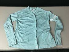 Women's Adidas Cardigan Sweater Size M Blue Teal Retro 90's Silk Blend Pockets