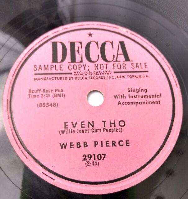 Vtg 78 RPM Vinyl Record Country Music Honky Tonk Rockabilly Singer Webb Pierce