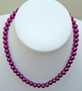 18-8mm-Purple-Magenta-Glass-Pearl-Necklace-with-Silvertone-Lobster-Clasp-IC936