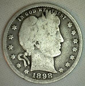 1898-de-Plata-Barber-Cuarto-Veinte-Cinco-Centavo-US-TIPO-MONEDA-BUENO-G-ESTADO