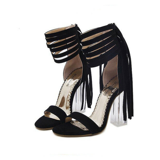Sandali eleganti tacco quadrato 9.5 cm nero simil pelle eleganti 9706