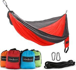 NEW HomEco Camping Hammock, Lightweight Nylon Parachute Travel Hammocks (Orange)