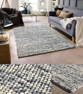 Image Is Loading Sumi Grey Chunky Bobble Rugs 100 Wool