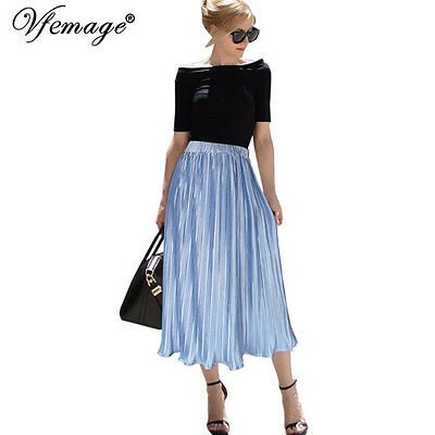 Womens Elegant Elastic High Waist Summer Casual Party Beach Pleated Midi Skirt
