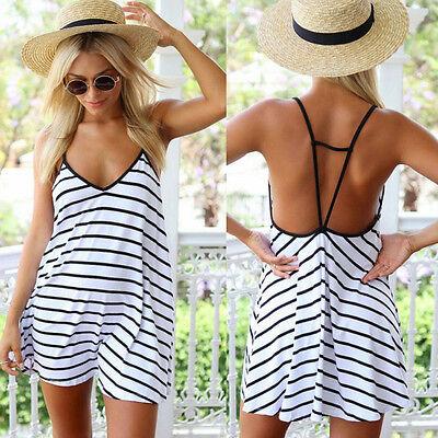 Womens Swimwear Beachwear Bikini Beach Wear Cover Up Stripe Ladies Summer Dress