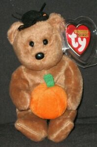TY HOCUS the BEAR HALLOWEENIE BEANIE BABY - MINT with MINT TAGS