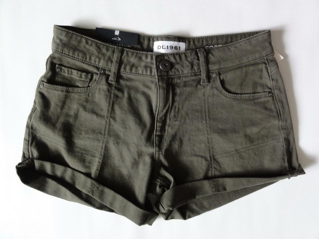 DL1961 FOSTER RELAXED XTWILL SHORT, Green (Fennel), Size 26, MSRP  115