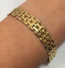 Wide Vintage 14k Yellow Gold Russian Link Wheat Byzantine Tennis 11m Bracelet 7""