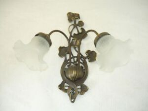 Applique lampada da parete in ottone e vetro con edera ebay