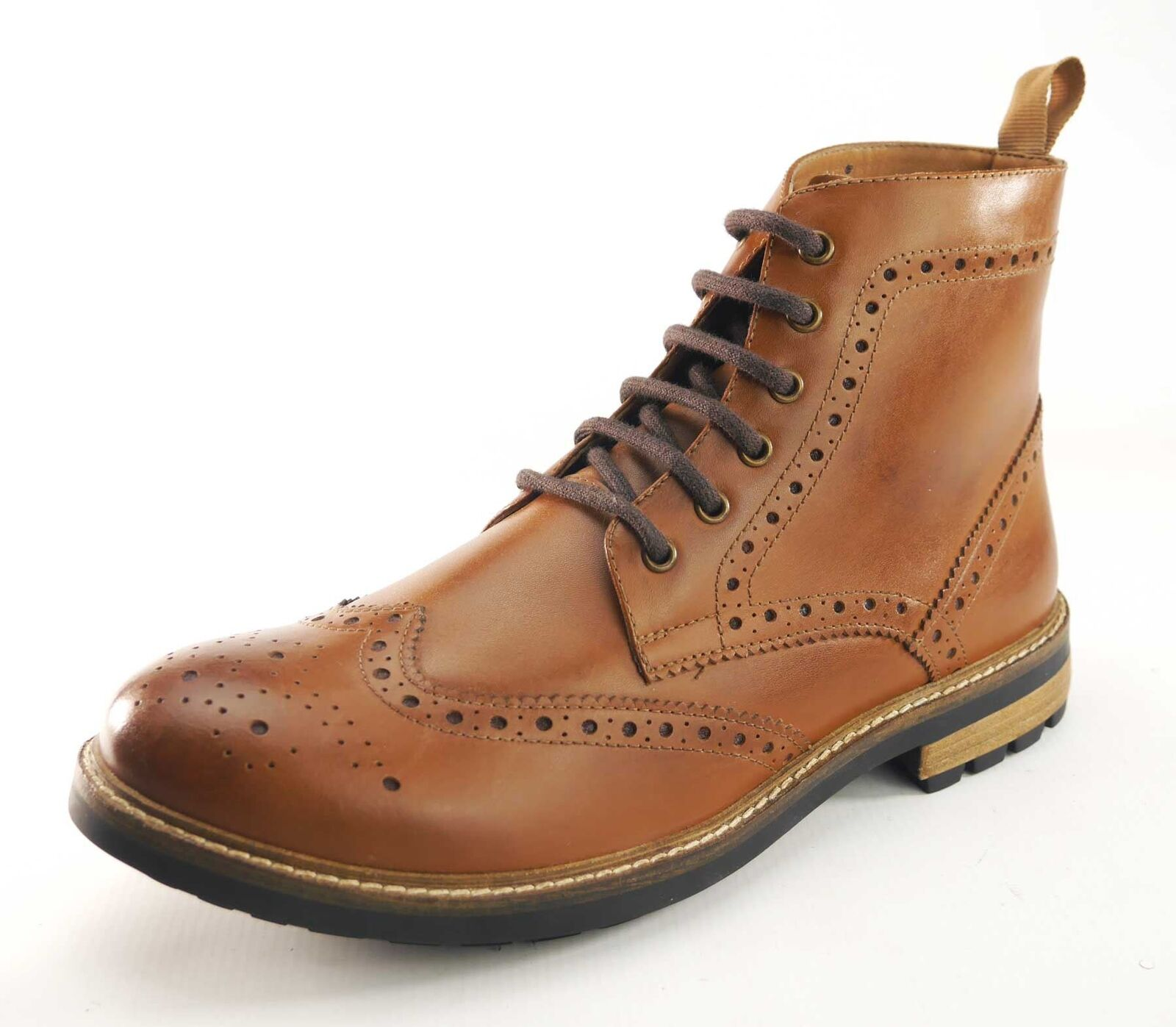 Frank James Hackney Real Leder Lace Up Brogue Stiefel Tan