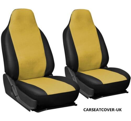 VW Caddy Maxi Vida-Amarillo y Negro Cuero Sintético Cubiertas de Asiento de Coche 2 X frentes