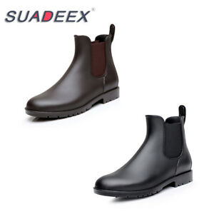 SUADEEX-Womens-Casual-Chelsea-Boots-Waterproof-Flat-Slip-On-Ankle-Rain-Boots