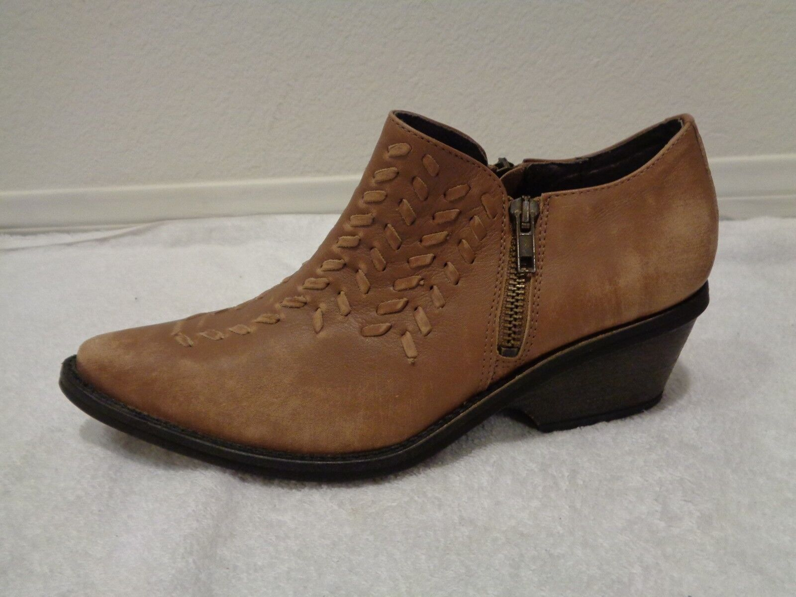 Free People Indio Dove Brown Boot Western Cowboy Woven Leather SZ 37/7