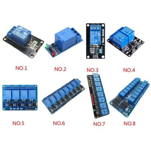 Placa de relé 5V de 1/2/4/8/16 canales Módulo Optoacoplador Led Arduino Pic Avr Arm