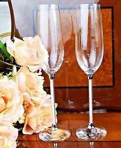 Champagne-Glass-Crystal-Cut-Pair-Swarovski-Element-Wedding-Present-Gift-Box-UK