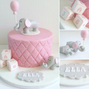 Elephant Cake Topper with balloon / Edible Sugar Cake ...
