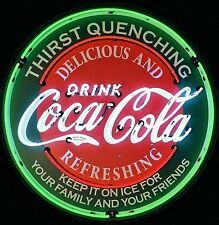 "Coca-Cola Evergreen Neon Sign - Drink Coke - Massive 36"" - Metal Can‏ Refreshing"
