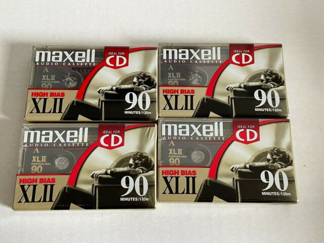 Lot of 4 Maxell XLII-90 min. High Bias Type-II Blank Audio Cassettes - SEALED