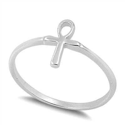 Silver Ankh Cross Ring, 925 Sterling, Egyptian Mythology Eternal Life, Gift Box