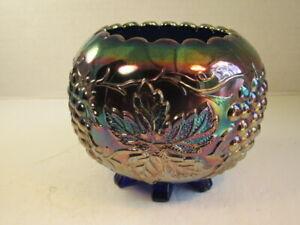 Antique Dugan Blue Grape Delight Footed Carnival Glass Rosebowl